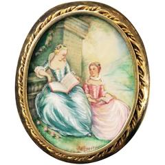 Exquisite Signed Hand-Painted on Ivory Frame Gild over Silver