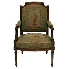 19th Century Parisian French Chair with Beauvais Tapestry