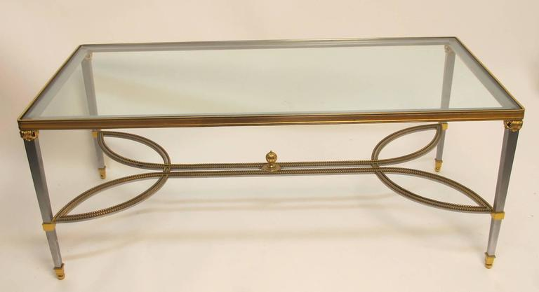 American Steel Gilded Brass and Glass Coffee Table, circa 1970 For Sale