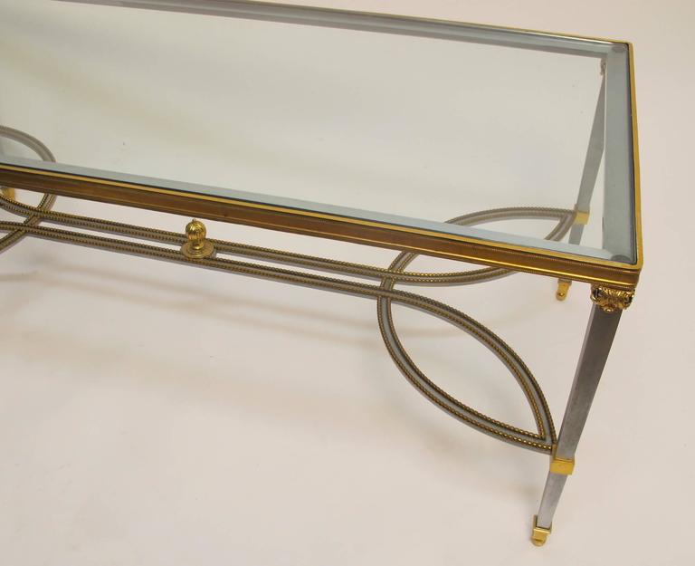 Steel Gilded Brass and Glass Coffee Table, circa 1970 In Excellent Condition For Sale In San Francisco, CA