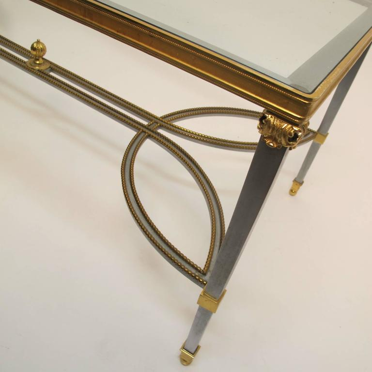 Beveled Steel Gilded Brass and Glass Coffee Table, circa 1970 For Sale