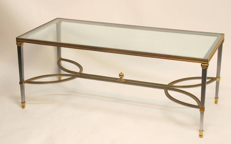 20th Century Steel Gilded Brass and Glass Coffee Table, circa 1970 For Sale