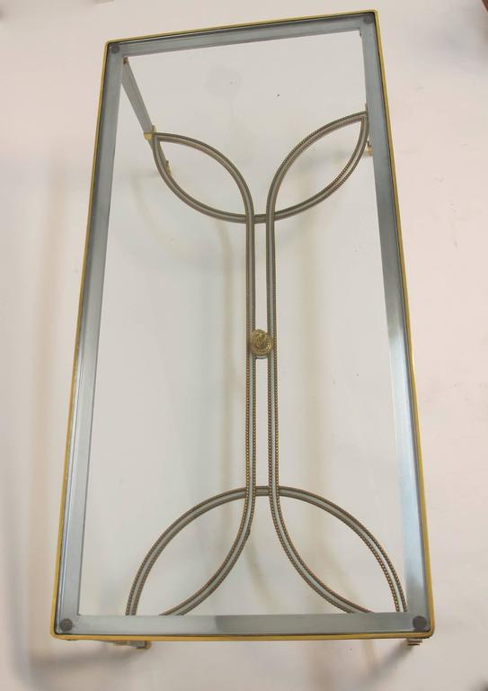 Neoclassical Revival Steel Gilded Brass and Glass Coffee Table, circa 1970 For Sale