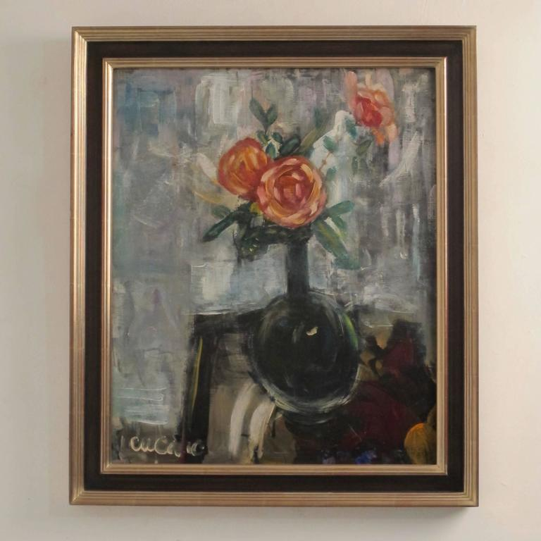 Pascal Cucaro Original Blue Floral Painting - The Quirky ...
