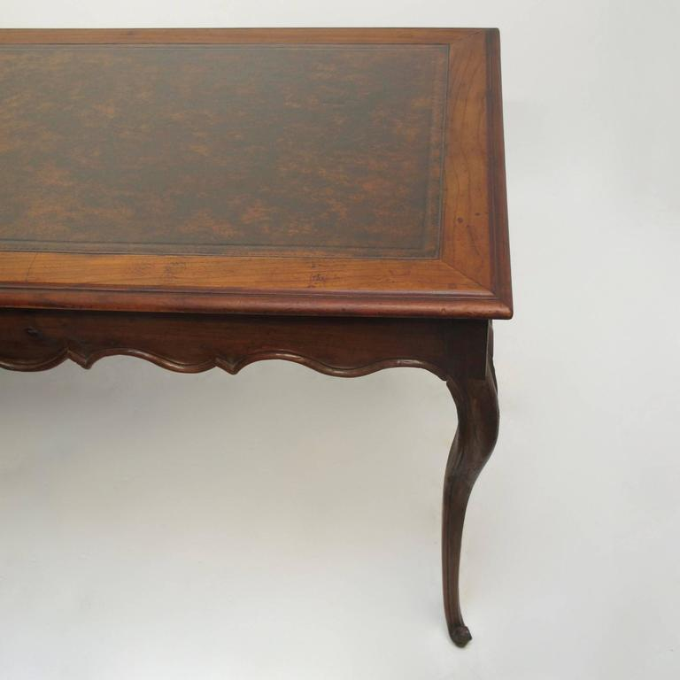 Carved Walnut Writing Table Desk with Inset Leather, French 18th Century For Sale
