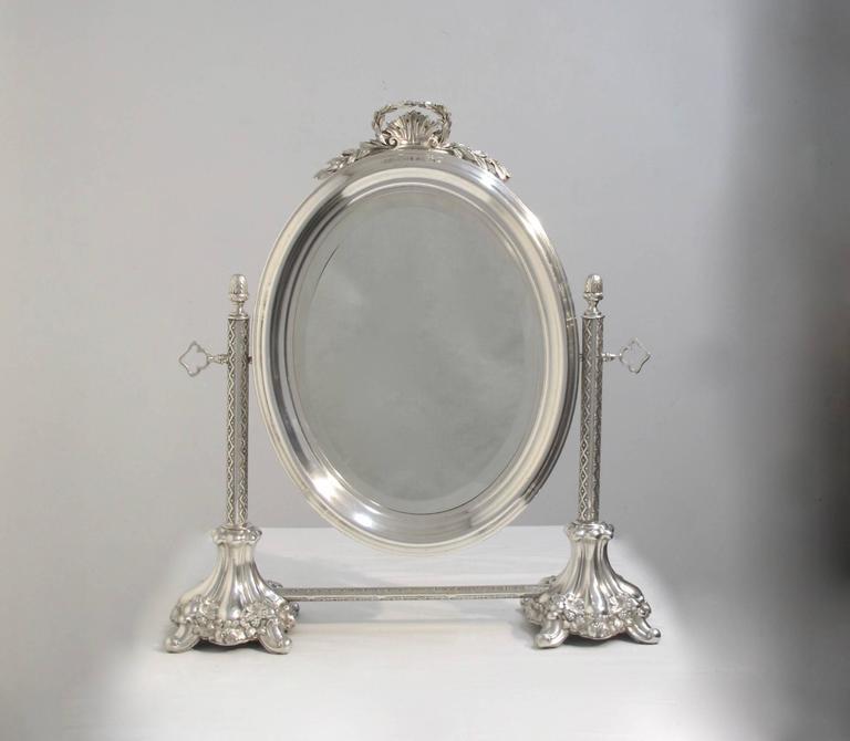 silver plate vanity mirror at 1stdibs. Black Bedroom Furniture Sets. Home Design Ideas
