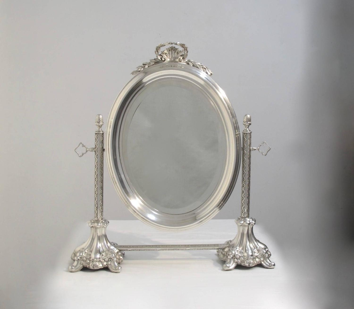 Silver plate vanity mirror at 1stdibs for Silver vanity table