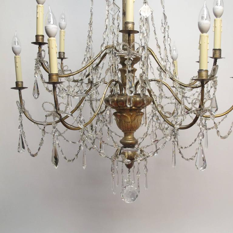 Iron 18th Century Silver Gilt Italian Chandelier For Sale