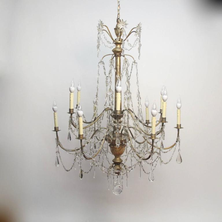 18th Century Silver Gilt Italian Chandelier In Excellent Condition For Sale In San Francisco, CA