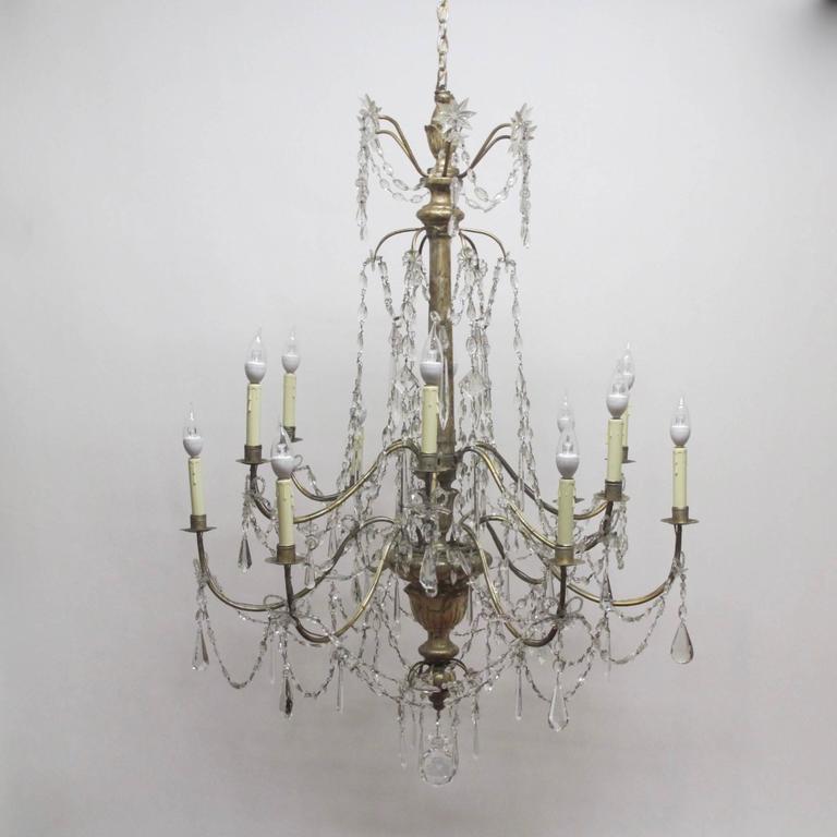 18th Century Silver Gilt Italian Chandelier For Sale 3