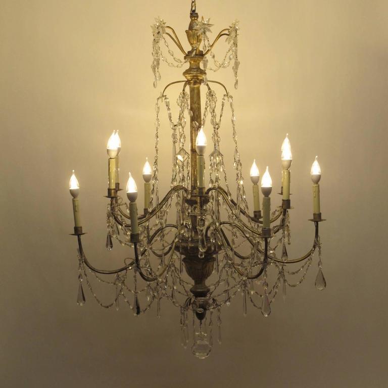 18th Century Silver Gilt Italian Chandelier For Sale 4