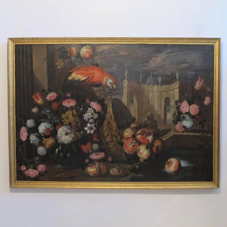 Canvas Large 18th Century Italian Still Life Oil Painting For Sale