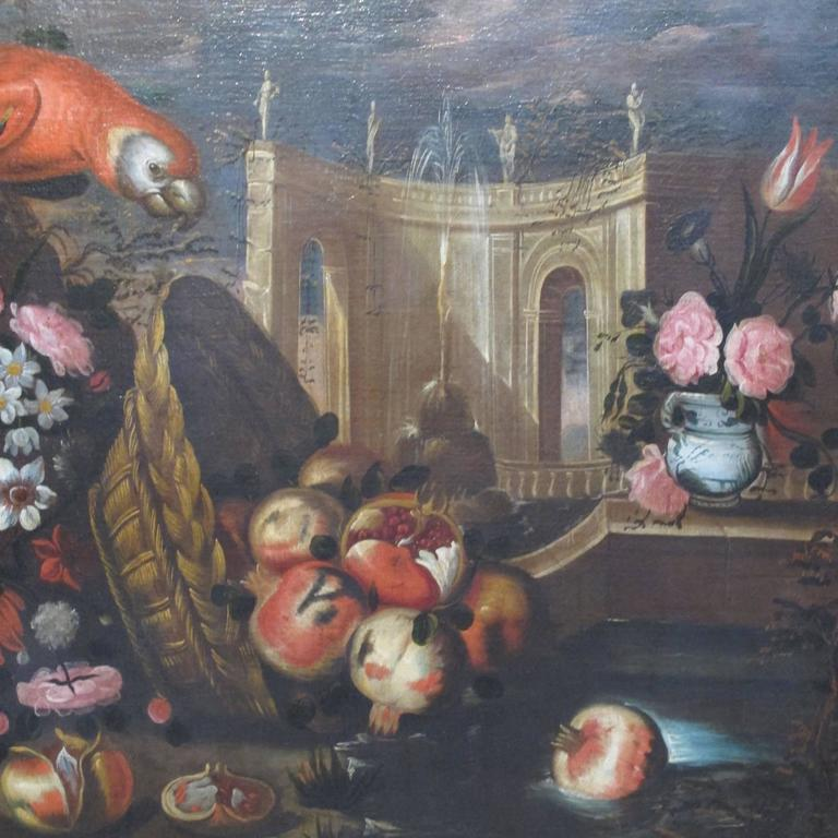 Large 18th Century Italian Still Life Oil Painting In Excellent Condition For Sale In San Francisco, CA