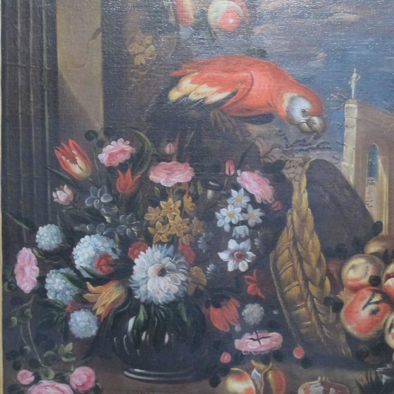 18th Century and Earlier Large 18th Century Italian Still Life Oil Painting For Sale