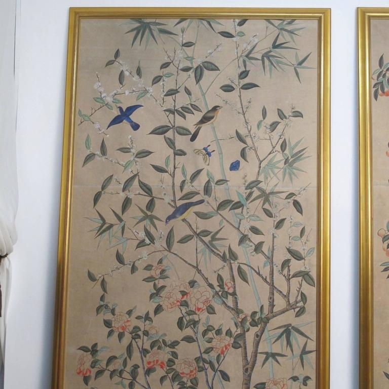 Exquisite Wall Coverings From China: Large Antique Hand Painted Chinese Wallpaper Panels At 1stdibs
