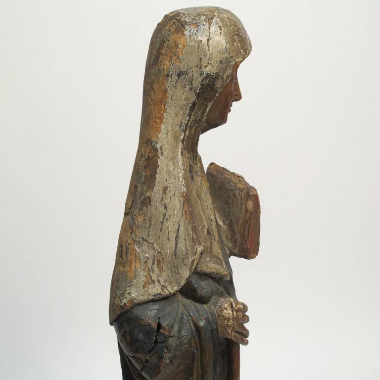 Hand-Carved Large 18th Century Northern European Saint Statue For Sale