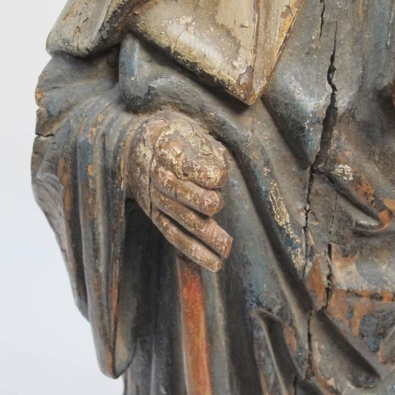 Wood Large 18th Century Northern European Saint Statue For Sale