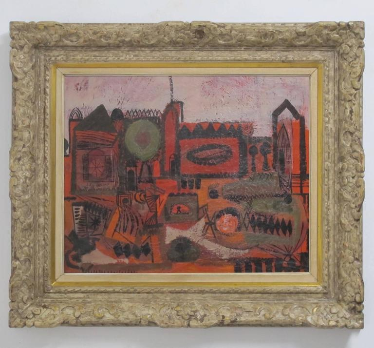 Mid-20th century abstract cityscape painting by California artist Robert Gilbert (b.1911-d.1970). Painted on panel and in original hand-carved frame, exhibition label on back with bio of the artist, American, circa 1960s. Sight measures 18.5 x 22.5,