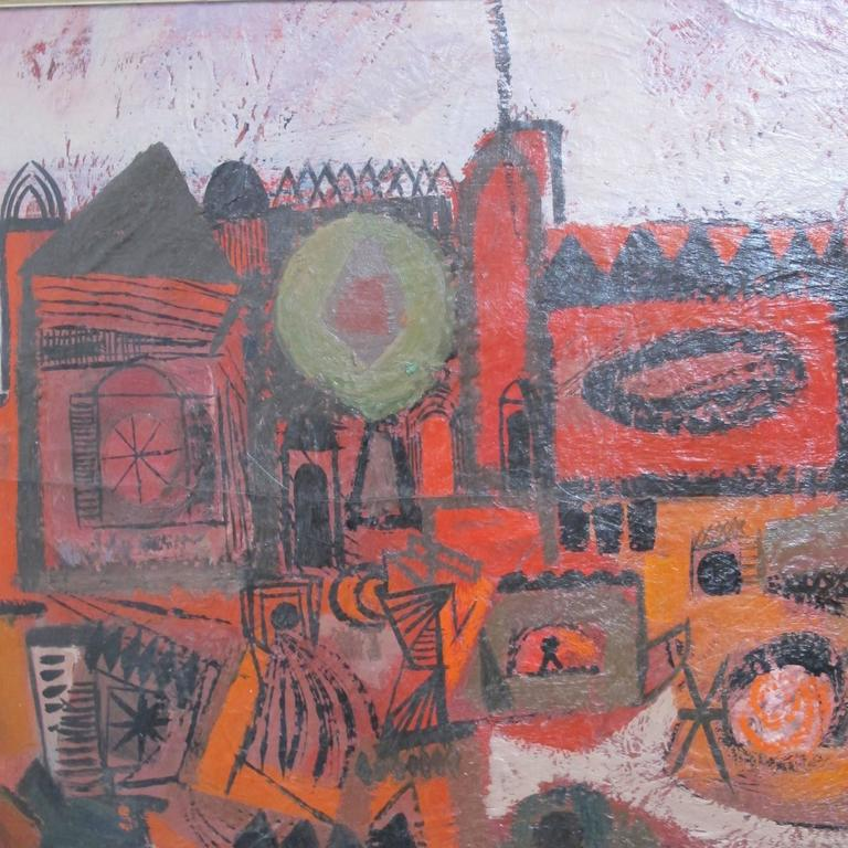 Mid-Century Modern Abstract Cityscape Painting by Robert Gilbert, American Mid 20th Century For Sale