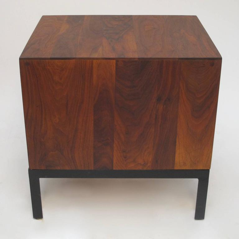Med Century Modern Walnut Low Bedside Table Chest For