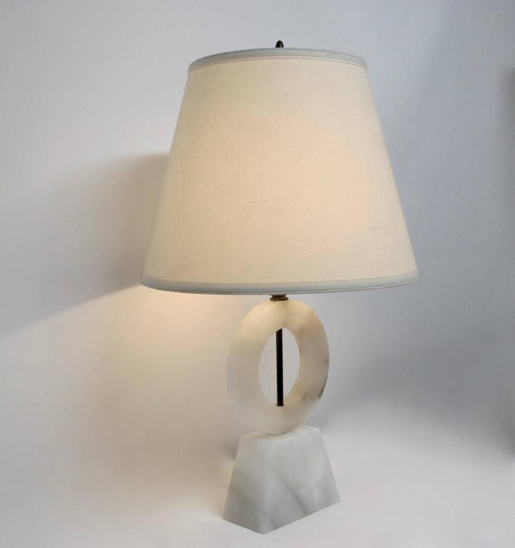Mid-Century Modern Sculptural Mid-Century Alabaster Lamp For Sale