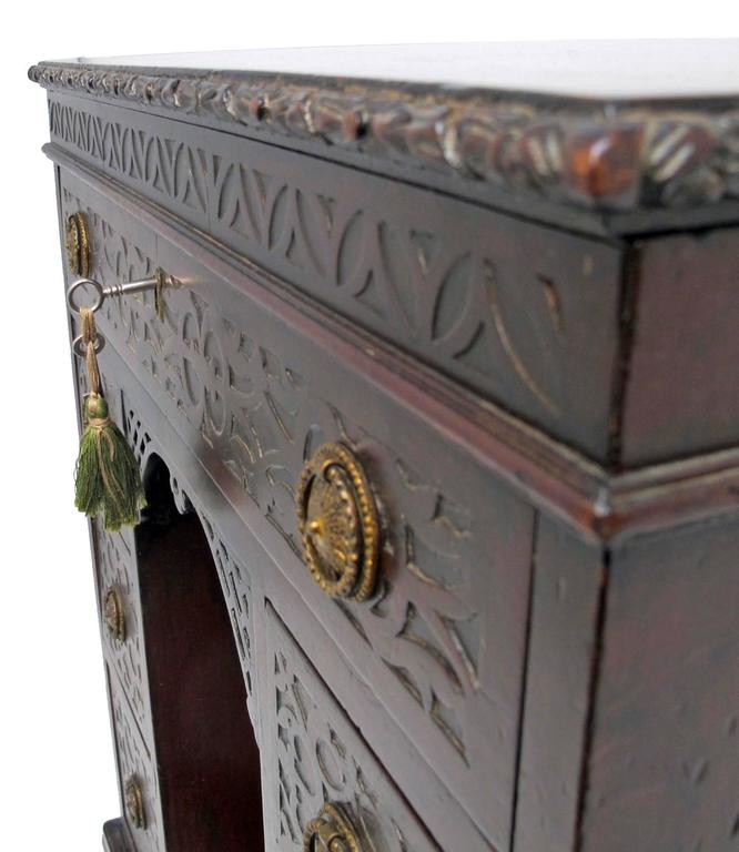 Early 19th Century Mahogany Childs Desk with Blind Fret Hand Carving English For Sale