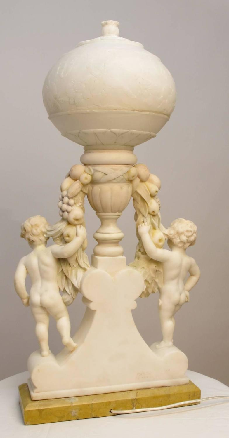 Italian Marble And Alabaster Carved Lamp For Sale At 1stdibs