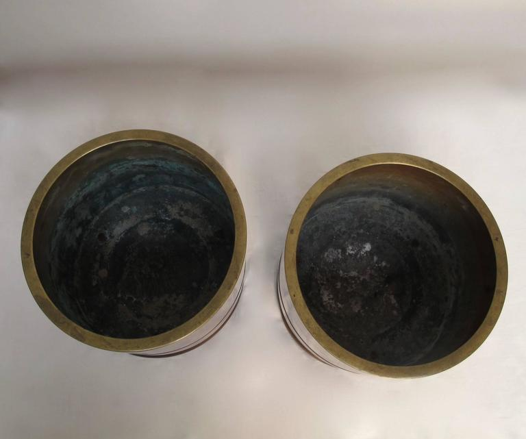 Japanese Bronze Hibachi's or Planters with Silver Inlay, Early 20th Century  For Sale 1