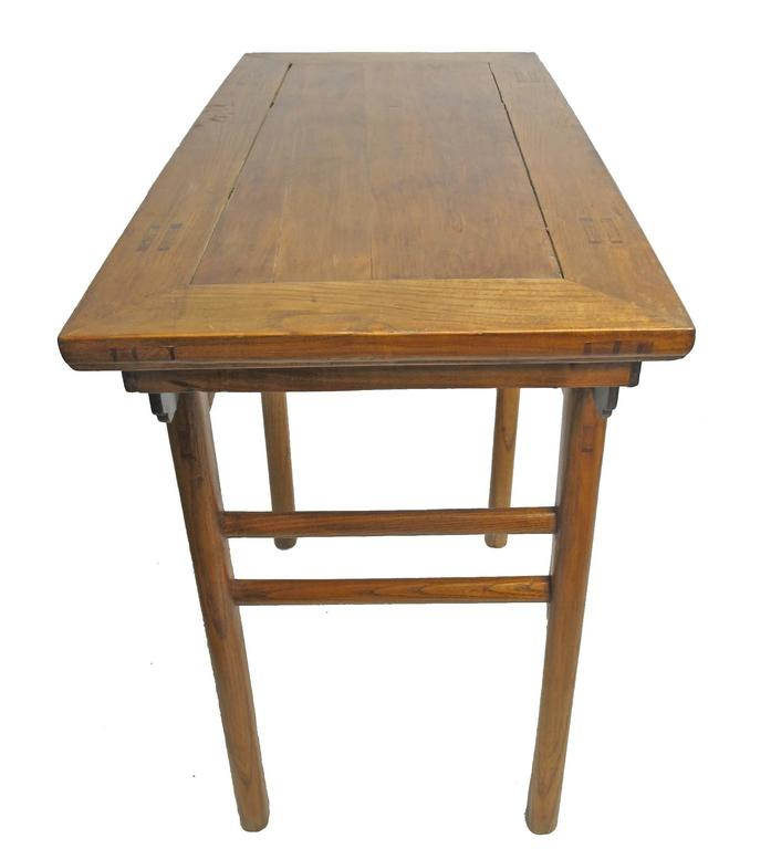 Chinese elmwood altar table. Recently refinished, beautiful antique condition, China, late 19th century.