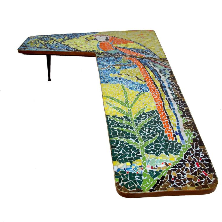 Mid Century Mosaic Tile Parrot Coffee Table 2