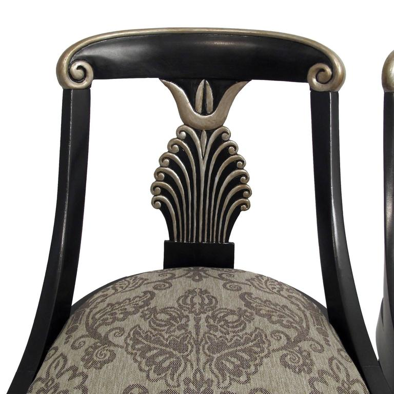 Painted   set of 4 Hollywood Regency Style Dining Chairs, (Set of Four) For Sale
