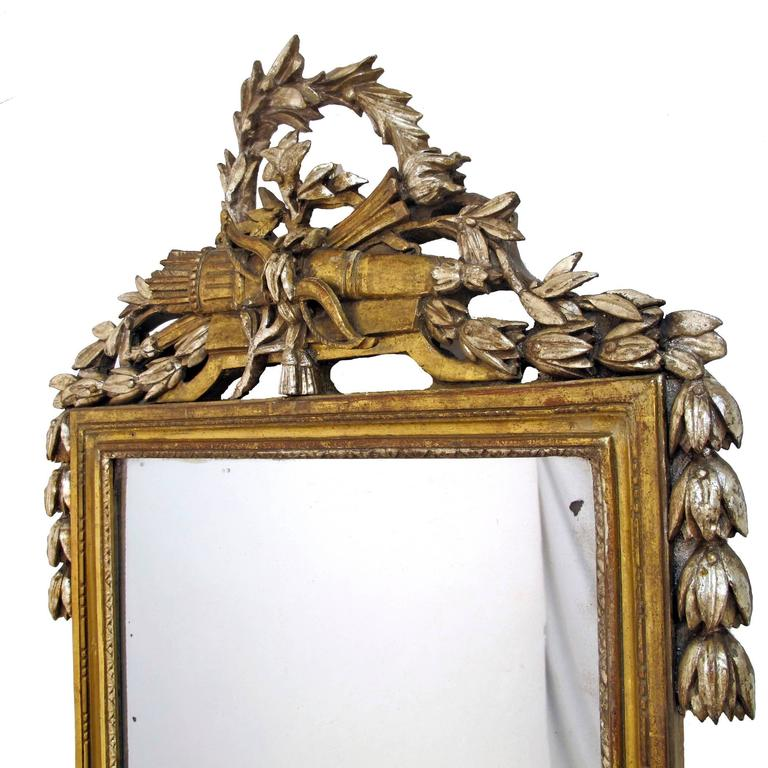 Carved French 18th Century Louis XV White Gold Gilt Mirror
