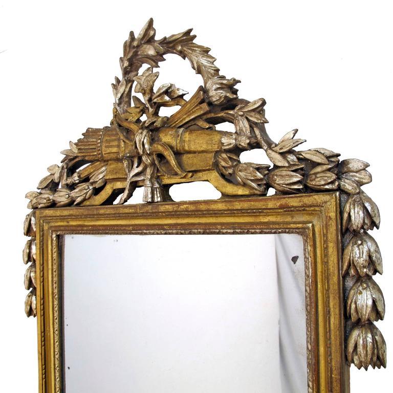 French 18th Century Louis XV White Gold Gilt Mirror 3