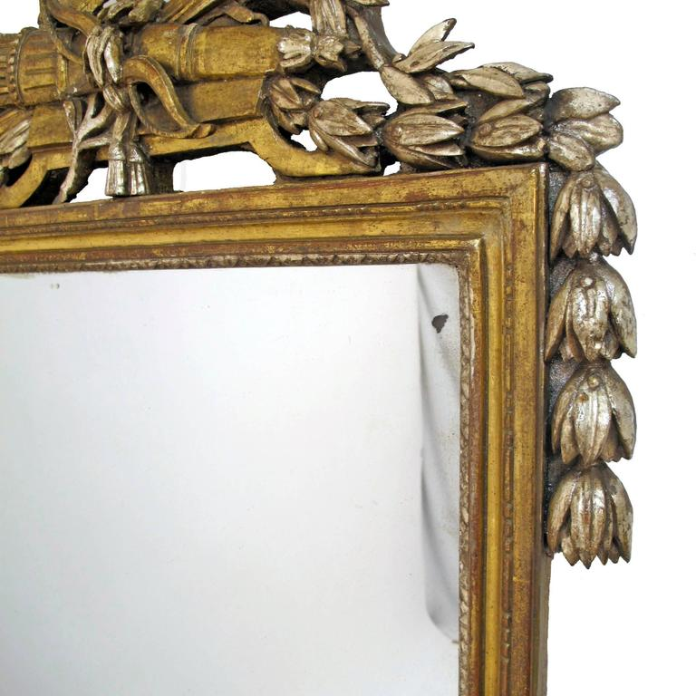 18th Century and Earlier French 18th Century Louis XV White Gold Gilt Mirror