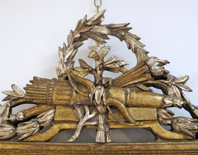 French 18th Century Louis XV White Gold Gilt Mirror 4