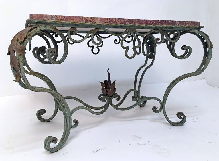 Green Painted Wrought Iron Table With Marble Top For Sale At 1stdibs