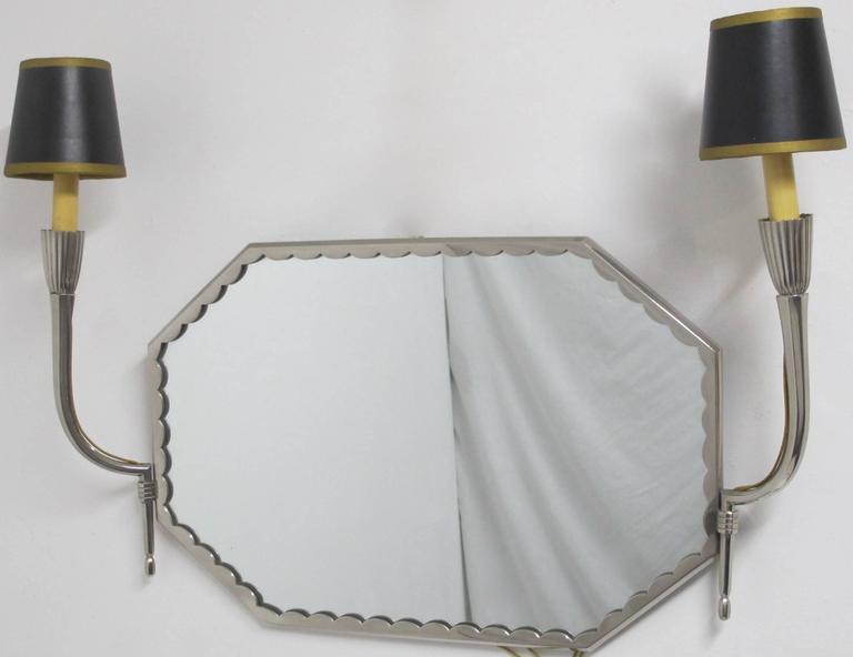 art deco nickel silver vanity mirror with sconces ruhlmanesque at 1stdibs. Black Bedroom Furniture Sets. Home Design Ideas
