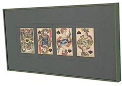 Framed Playing Cards, Austrian, 19th Century