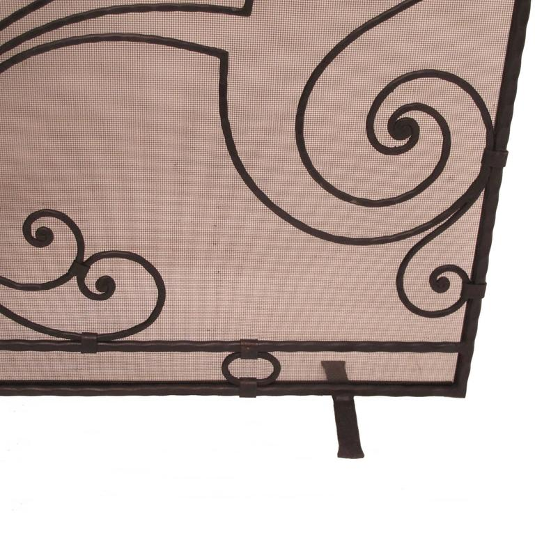 Wrought Iron Fireplace Screen With Fleur De Lis For Sale