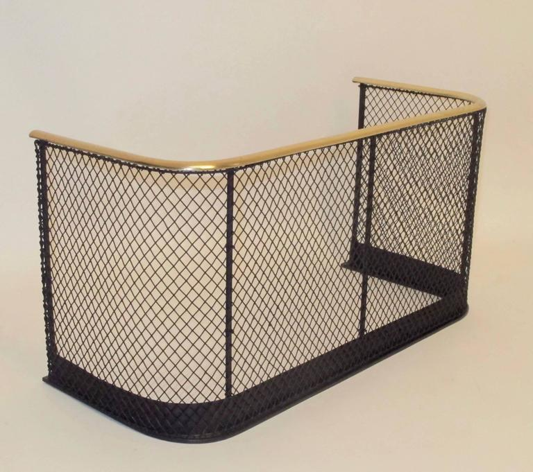 English Iron and Brass Fireplace Fender For Sale