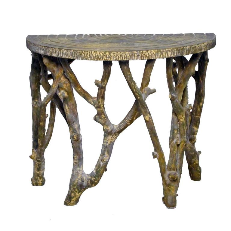 20th Century Faux Tree Branch Demilune Console Table For Sale