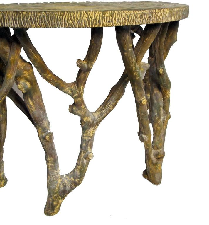 Faux Tree Branch Demilune Console Table For Sale 1