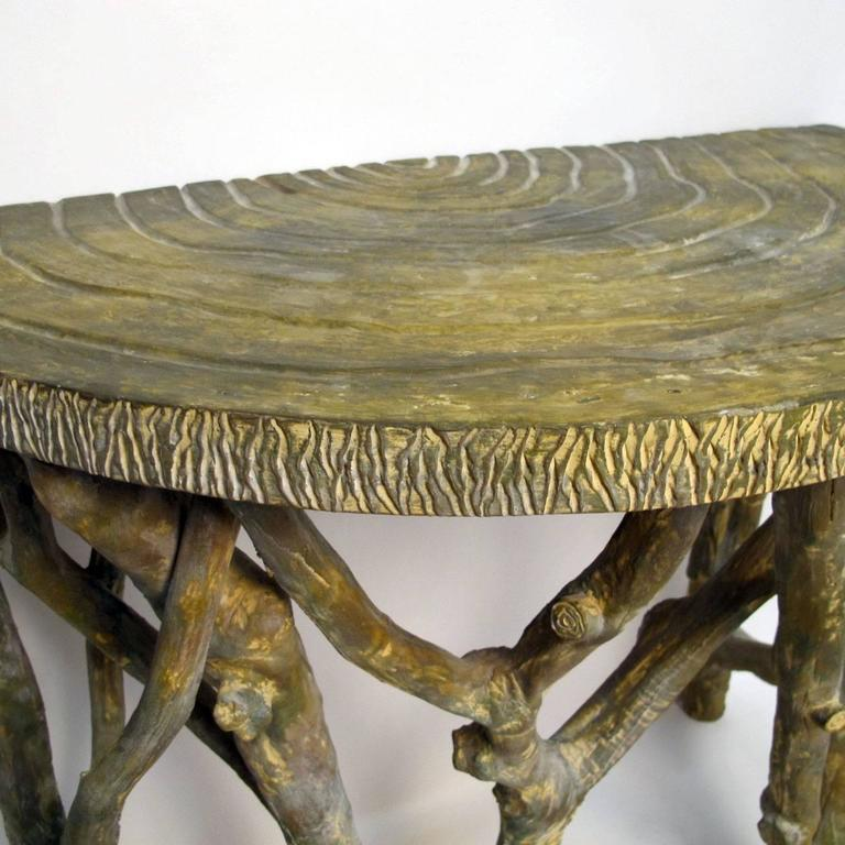 Faux Tree Branch Demilune Console Table In Excellent Condition For Sale In San Francisco, CA