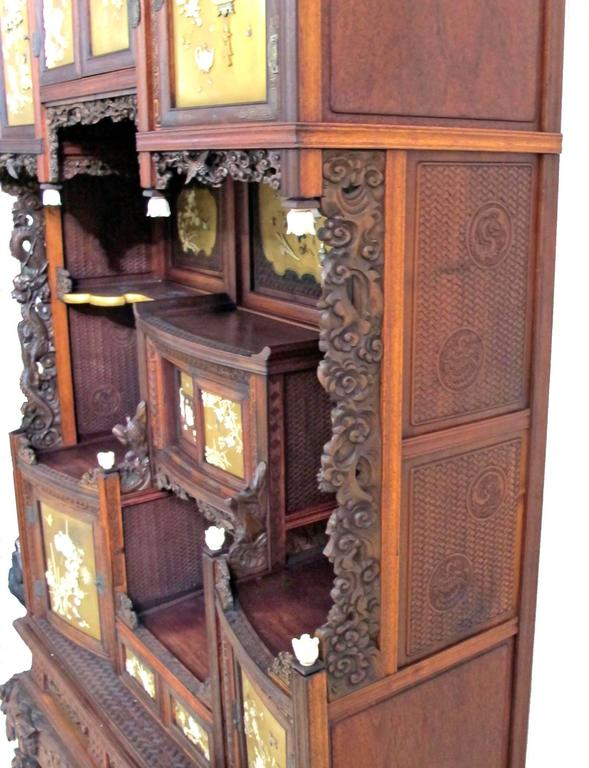 Carved Japanese Shibayama Cabinet, Meiji Period For Sale