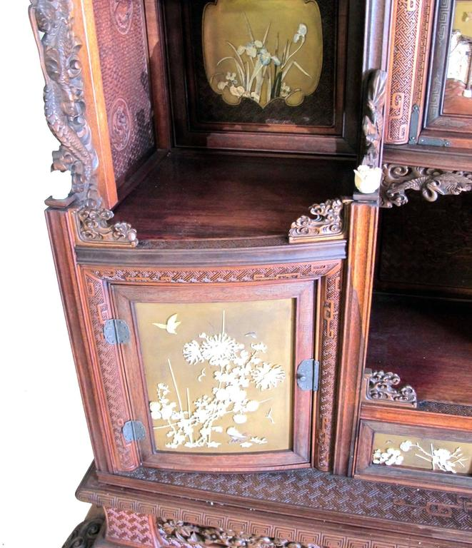 Mother-of-Pearl Japanese Shibayama Cabinet, Meiji Period For Sale