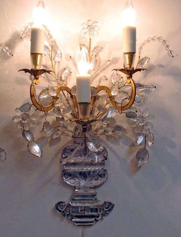 Pair of Maison Bagues Rock Crystal Floral Sconces 9