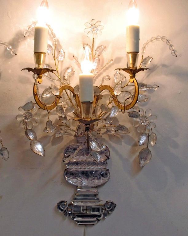 Pair of Maison Bagues Rock Crystal Floral Sconces 10