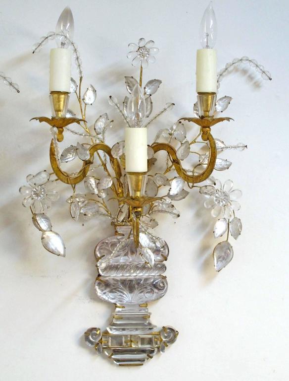 Pair of Maison Bagues Rock Crystal Floral Sconces 3