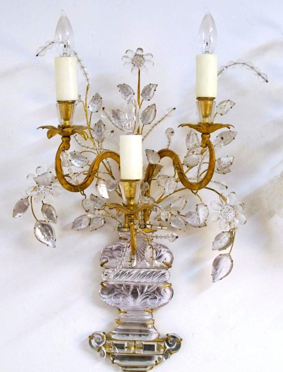 Pair of Maison Bagues Rock Crystal Floral Sconces 4