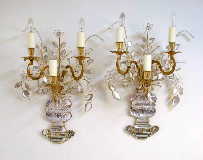 Pair of Maison Bagues Rock Crystal Floral Sconces 2